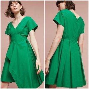 Maeve Anthro Seamed Cotton Poplin V-Neck Dress